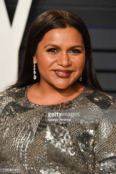 Mindy Kaling attends the 2019 Vanity Fair Oscar Party hosted by Radhika Jones at Wallis Annenberg Center for the Performing Arts on February 24 2019...