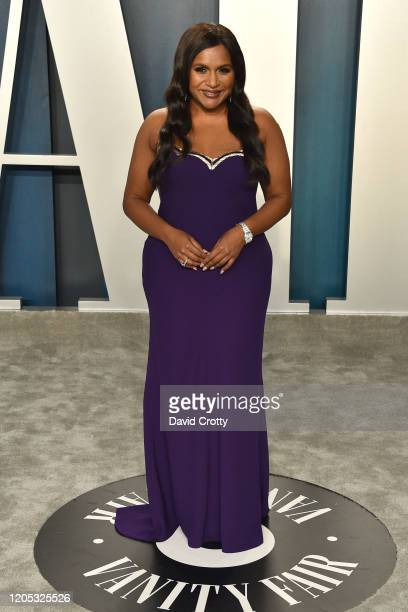 Mindy Kaling attends the 2020 Vanity Fair Oscar Party at Wallis Annenberg Center for the Performing Arts on February 09 2020 in Beverly Hills...