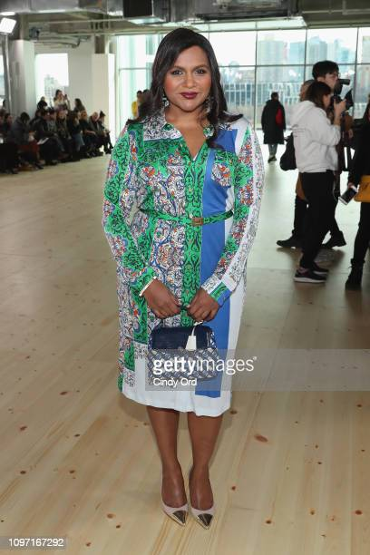 Mindy Kaling attends the Tory Burch Fall Winter 2019 Fashion Show at Pier 17 on February 10 2019 in New York City