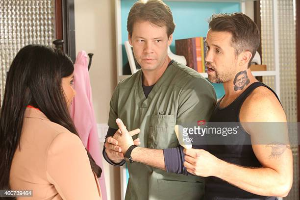 """Mindy Kaling , Ike Barinholtz and Rob McElhenney in the office in the """"We're A Couple Now, Haters"""" season premiere episode of THE MINDY PROJECT..."""