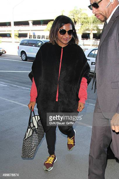 Mindy Kaling is seen at LAX on December 02 2015 in Los Angeles California