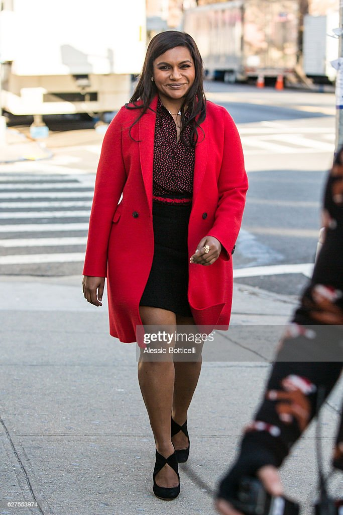 Mindy Kaling is seen on location for 'Ocean's Eight's 8' on December 3, 2016 in New York City.