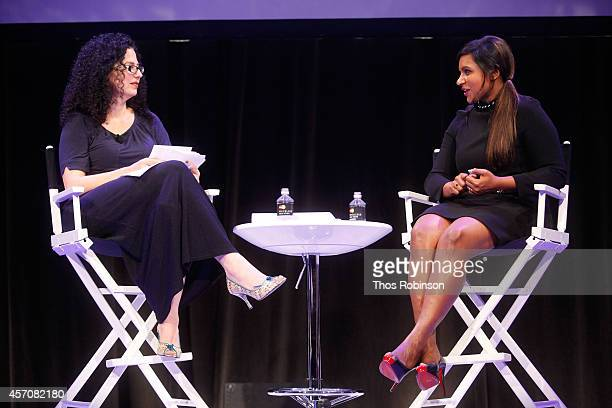 Mindy Kaling participates in a conversation with New Yorker television critic Emily Nussbaum during the New Yorker Festival on October 11, 2014 in...