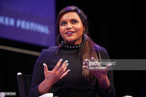 Mindy Kaling participates in a conversation with New Yorker television critic Emily Nussbaum during the New Yorker Festival on October 11 2014 in New...