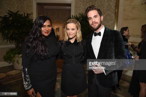 Mindy Kaling Reese Witherspoon and Ben Platt attend ELLE's 26th Annual Women In Hollywood Celebration Presented By Ralph Lauren And Lexus at The Four...