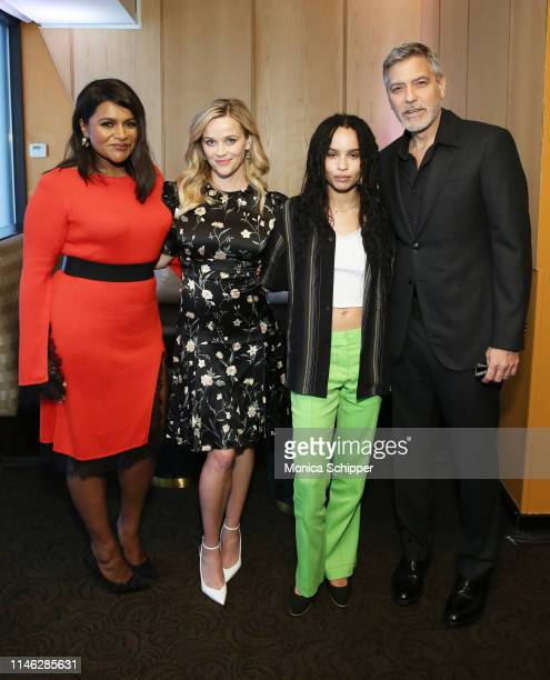 Mindy Kaling Reese Witherspoon Zoe Kravitz and George Clooney pose for a photo during the Hulu '19 Presentation at Hulu Theater at MSG on May 01 2019...