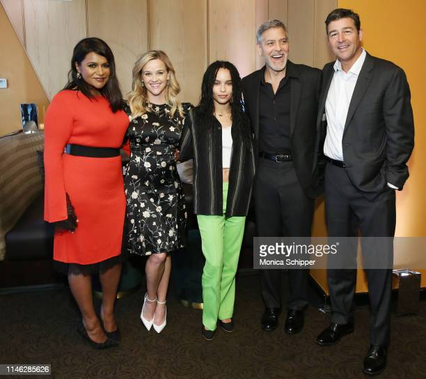 Mindy Kaling Reese Witherspoon Zoe Kravitz George Clooney and Kyle Chandler pose for a photo during the Hulu '19 Presentation at Hulu Theater at MSG...