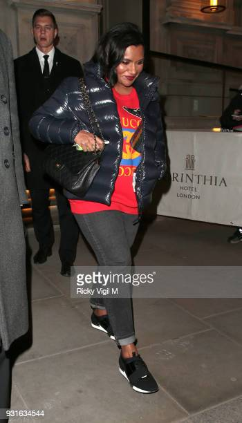 Mindy Kaling seen leaving Corinthia Hotel on March 13 2018 in London England