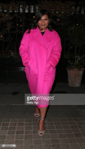 Mindy Kaling seen on a night out at Chiltern Firehouse after appearing on The One Show on March 12 2018 in London England