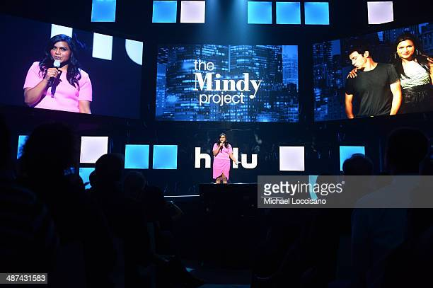 Mindy Kaling speaks onstage at Hulu's Upfront Presentation on April 30 2014 in New York City