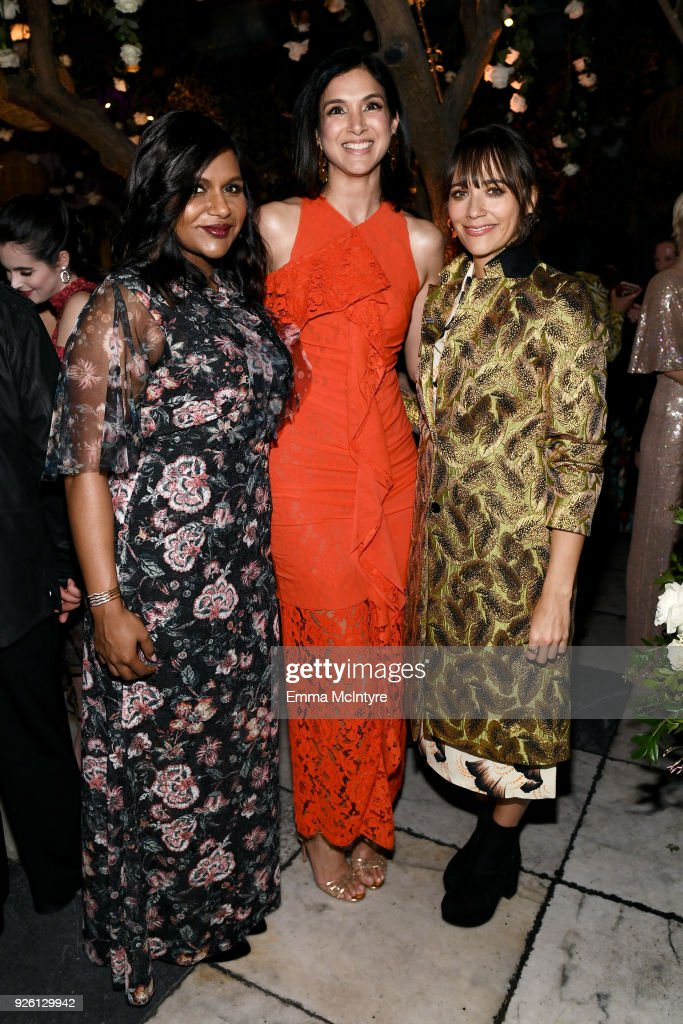 Mindy Kaling, Vanity Fair Editor-in-Chief Radhika Jones, and Rashida Jones celebrate with Belvedere Vodka at Vanity Fair and Lancome Paris Toast Women in Hollywood, hosted by Radhika Jones and Ava DuVernay, on March 1, 2018 in West Hollywood, California.