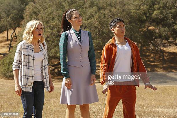 PLACE Mindy St Claire Episode 112 Pictured Kristen Bell as Eleanor Shellstrop D'Arcy Carden as Janet DellaDenunzio Manny Jacinto as Jianyu