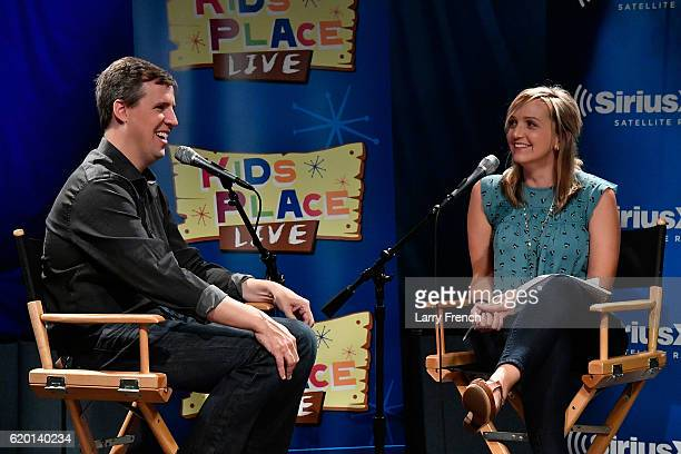 Mindy Thomas host of The Absolutely Mindy Show on SiriusXM's Kid's Place Live hosts Diary of a Wimpy Kid author Jeff Kinney at SiriusXM studios on...