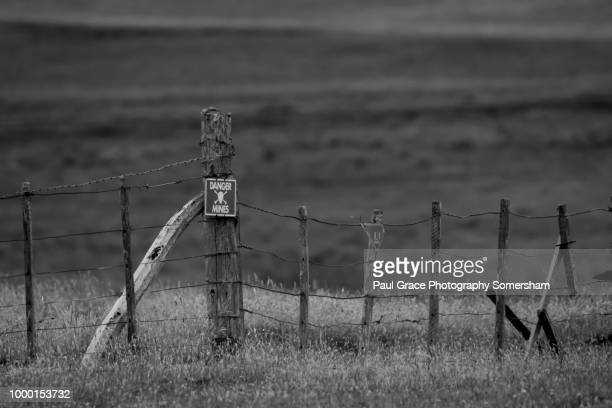 mine field in the falkland islands. - falklands war stock pictures, royalty-free photos & images