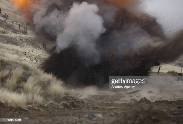 Mine is being destroyed on a road between Tartar and Suqovusan as demining works are underway after the area was liberated by Azerbaijani army near...