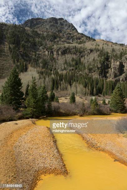 mine polluted water red mountain creek san juan mountains silverton colorado - milehightraveler stock pictures, royalty-free photos & images