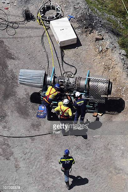 Mine rescue officers work on a machine used to extract gases at the Pike River Mine on November 30 2010 in Greymouth New Zealand Rescue teams have...