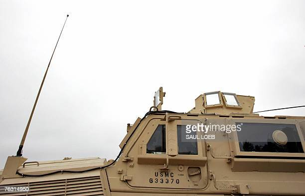 A Mine Resistant Ambush Protected vehicle or MRAP is parked on the test course at the US Army's Aberdeen Proving Ground in Aberdeen Maryland 24...