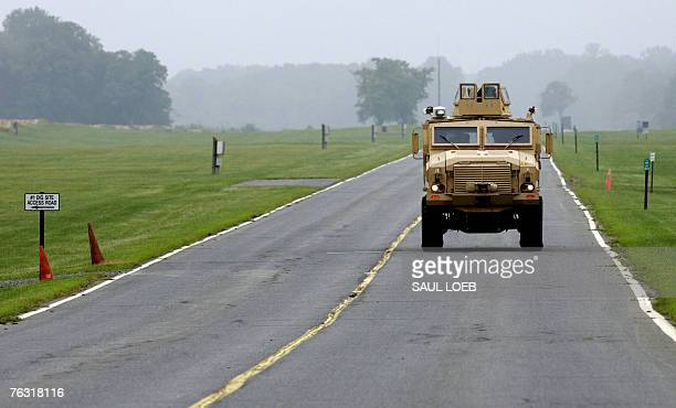 A Mine Resistant Ambush Protected vehicle or MRAP maneuvers through a test course at the US Army's Aberdeen Proving Ground in Aberdeen Maryland 24...