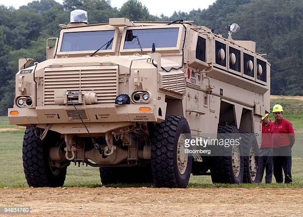 Mine Resistant Ambush Protected vehicle sits on display at the Aberdeen Proving Ground in Aberdeen Maryland Aug 24 2007 The Army and Marine Corps...