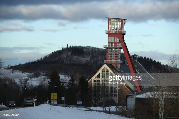 A mine shaft tower at a former mine shuttered in 1991 stands on December 14 2017 in the former mining town of Altenberg Germany Altenberg will...