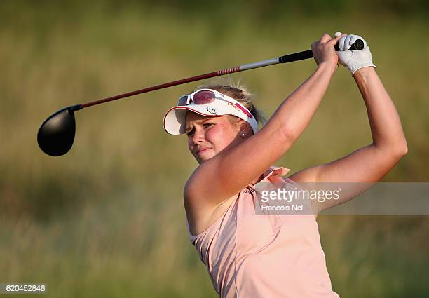 Minea Blomqvist of Finland tees off on the 16th hole during the first round of the Fatima Bint Mubarak Ladies Open at Saadiyat Beach Golf Club on...