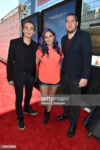 Minecraft gamer personalities Jerome 'ASF' Aceti Tiffany 'Cupquake' and Ryan 'xRpMx13' McNulty attend the premiere of 'Earth to Echo' during the 2014...