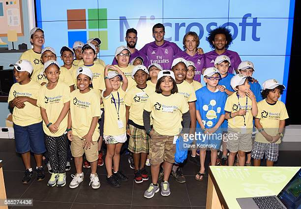 Minecraft Hour of Code workshop participants with Real Madrid CF players at the Microsoft Store on August 2 2016 in New York City