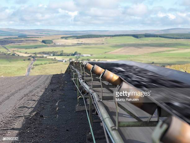 Mined Coal Traveling on Conveyor Belt