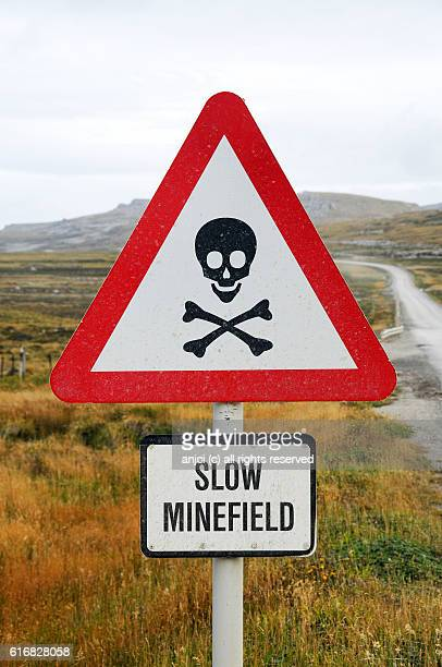 minefield sign in east falkland / falkland islands - falklands war stock pictures, royalty-free photos & images