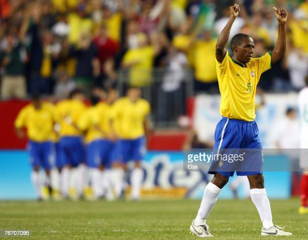 Mineiro of Brazil celebrates a win against Mexico on September 12, 2007 at Gillette Stadium in Foxboro, Massachusetts. Brazil defeated Mexico 3-1.