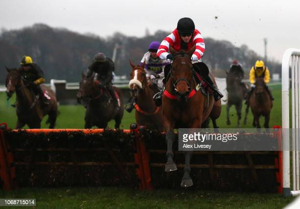 Minella Charmer ridden by Sean Quinlan clears the last fence ahead of the field but is caught in the run in and finishes in third place during The...