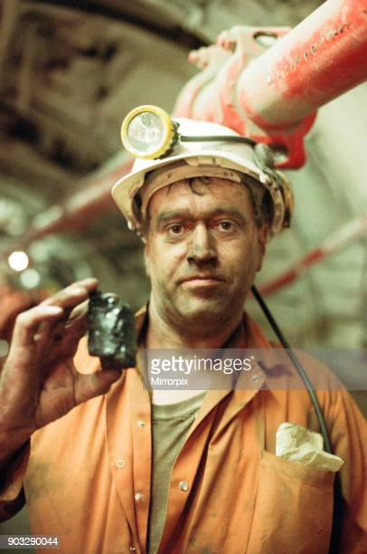 A miner below ground at Cotgrave Colliery for the final shift before the mine is closed Circa 1992