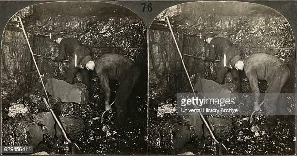Miner Drilling and Laborer Loading Anthracite Scranton Pa Stereo Card circa 1915