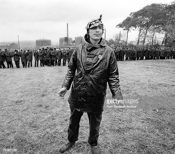 A miner in front of police lines during a confrontation with police at the Orgreave coking plant in South Yorkshire 18th June 1984 The most violent...
