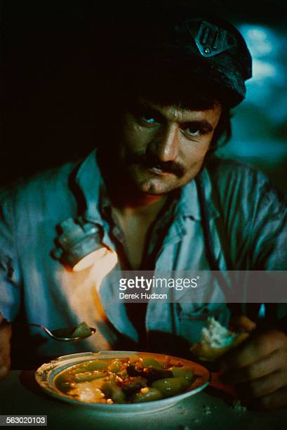 A miner in the cafeteria of the Lonea Coal Mine in Petrila in the Jiu Valley of Romania 20th June 1990
