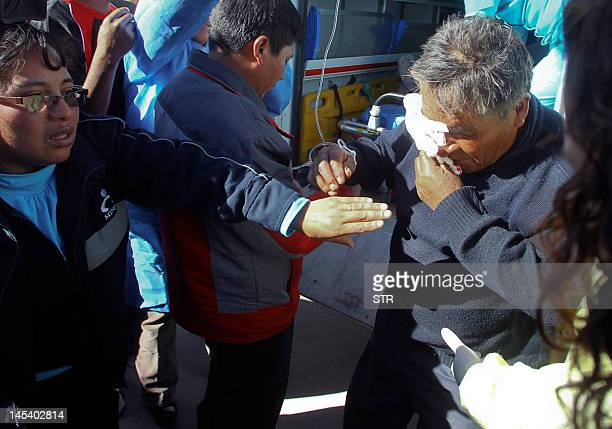 A miner injured in clahes with policemen during a protest against Swissowned mining company Xstrata receives medical attention in Espinar Cuzco100...