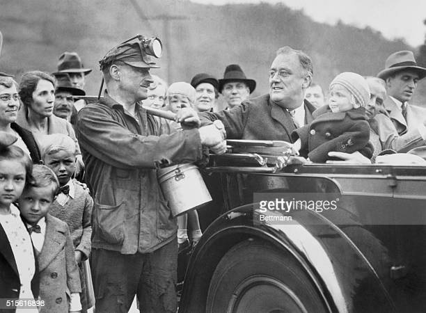 Miner Shakes Hands with Governor Franklin D. Roosevelt