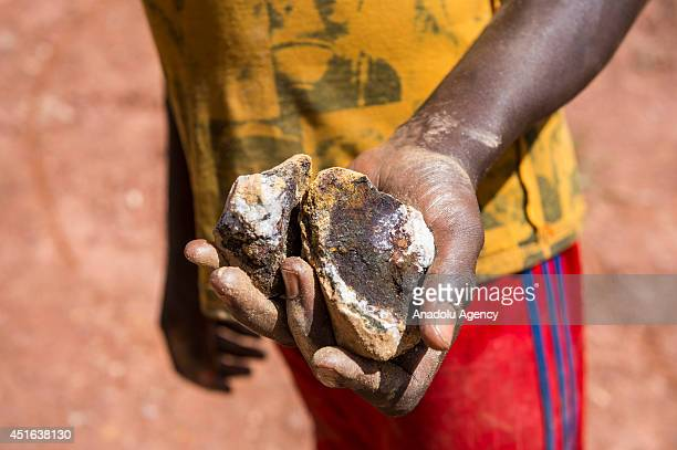 A miner shows rough gold in Ndassima gold mine 40 Km of Bambari in Seleka group controlled zone in the Eastern part of CAR Independent gold panners...