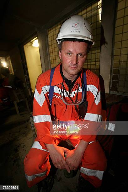 A miner takes a break from work at the construction site for the Gotthard Base Tunnel on April 19 2007 near Sedrun Switzerland Deep beneath the Alps...