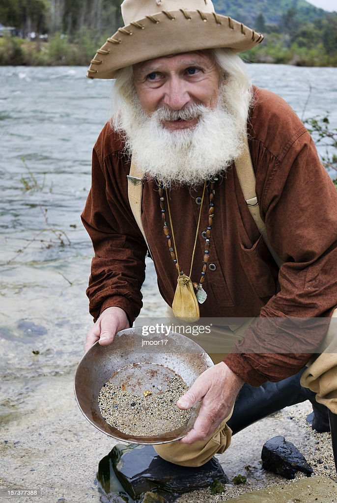 Miner with Gold Pan : Stock Photo