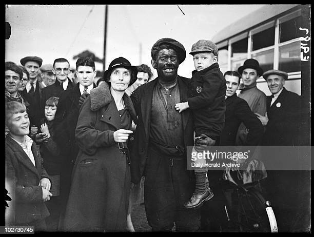 Miner with his family South Wales 6 September 1936 A miner with his family and other members of the community at Bedwas Colliery South Wales taken...