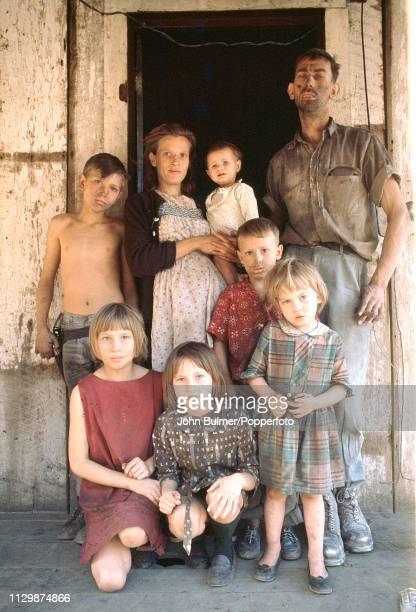 A miner with his wife and six children Pike County Kentucky US 1967