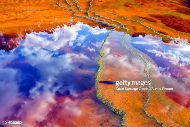 mineral laden water in rio tinto river in minas de rio tinto mining area, huelva province, andalusia, spain - pareidolia stock pictures, royalty-free photos & images
