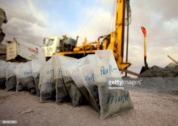 Mineral samples sit at the Uyuni Salt Flat in Uyuni Bolivia on Nov 17 2009 The salt flat is the world's largest untapped lithium reserve containing...