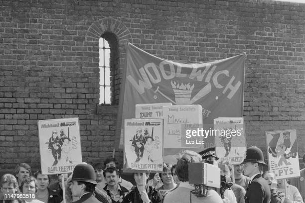 Miners and Labour Party Young Socialists protest during British Prime Minister Margaret Thatcher visit to London Docklands, UK, 13th April 1984.