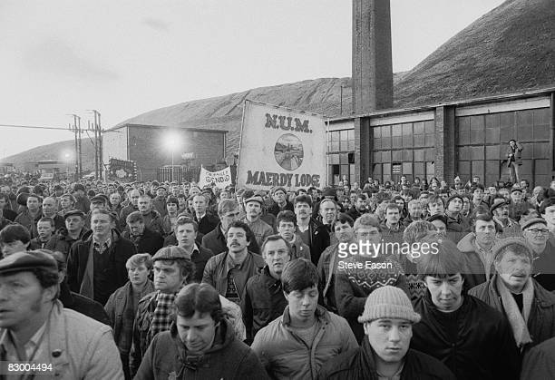 Miners at a demonstration at Maerdy Lodge Colliery in Gwent South Wales at the end of the miners' strike 5th March 1985