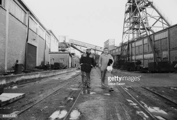 Miners at Maerdy Lodge Colliery in Gwent South Wales return to work at the end of the miners' strike 5th March 1985