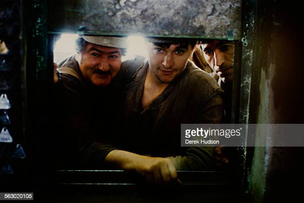 Miners at the Lonea Coal Mine in Petrila in the Jiu Valley of Romania 20th June 1990