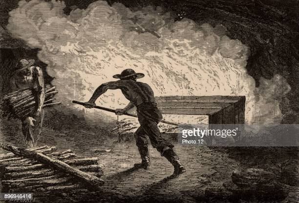 Miners breaking up rock by setting a fire on it When the rock cooled it would crack and shatter which made it easy to work with picks Greater break...